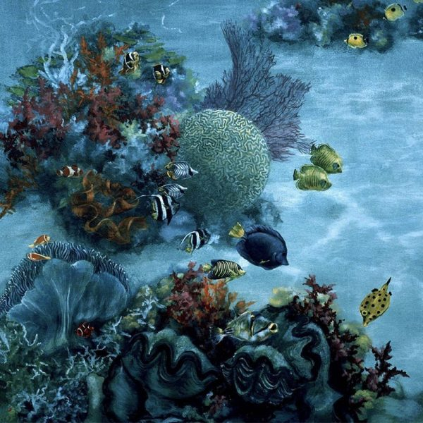 Sea life inspired hand-painted mural