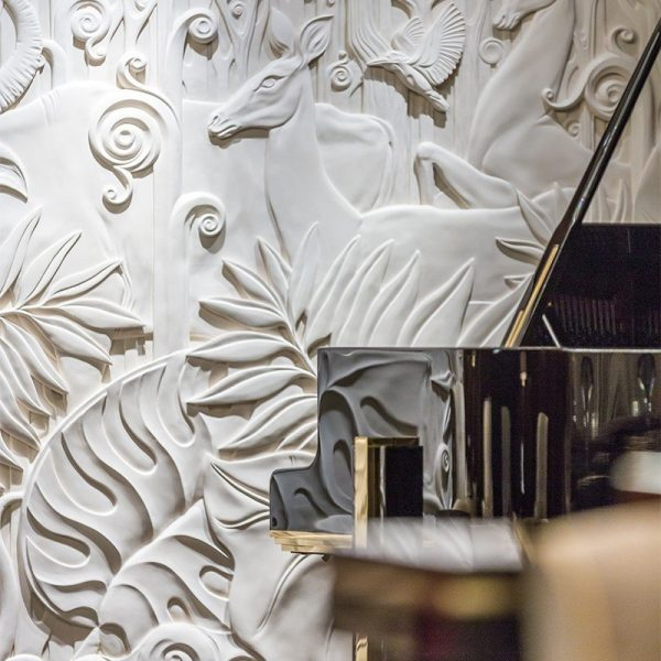 Flora picture: Hand-carved bas-relief artwork, alabaster finish. Detail of residential a project for Winch Design
