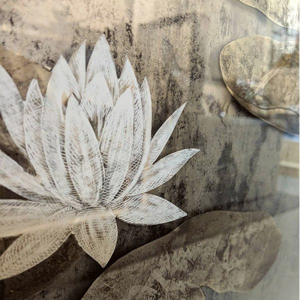 Hand-painted water lilies on laminated glass with mesh backing and 22ct gold leaf