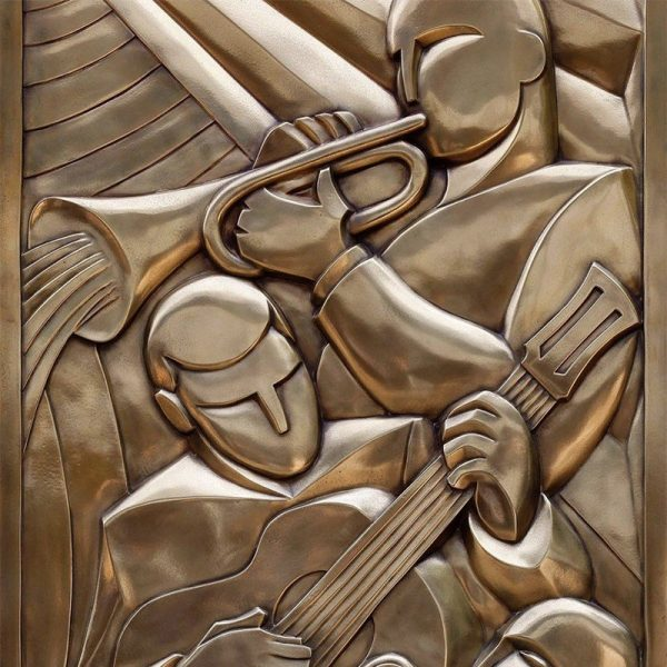 Hand-carved metallised bas-relief, cast in lightweight material