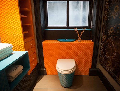 leather bathroom at Alma