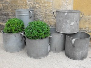 zinc planters from Anton and K
