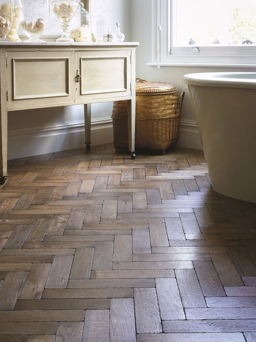 'Worn Grey' parquet floor by Broadleaf