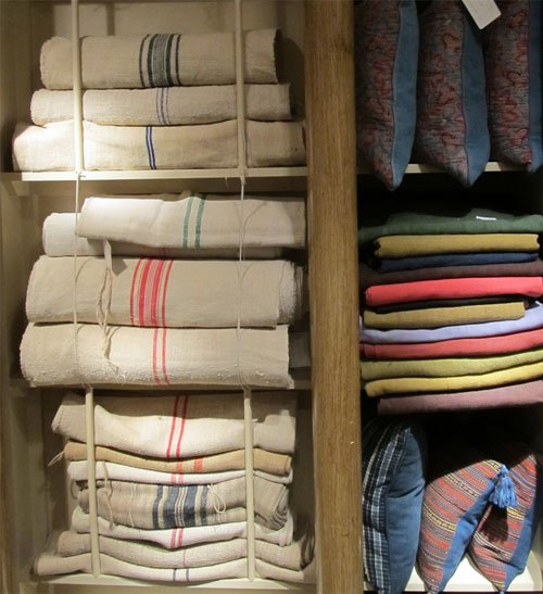 Vintage linen grain sacks at Guinevere Antiques