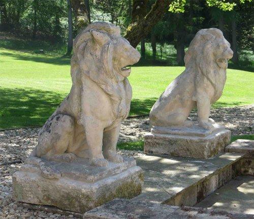 Limestone Lions from Lichen Garden Antiques