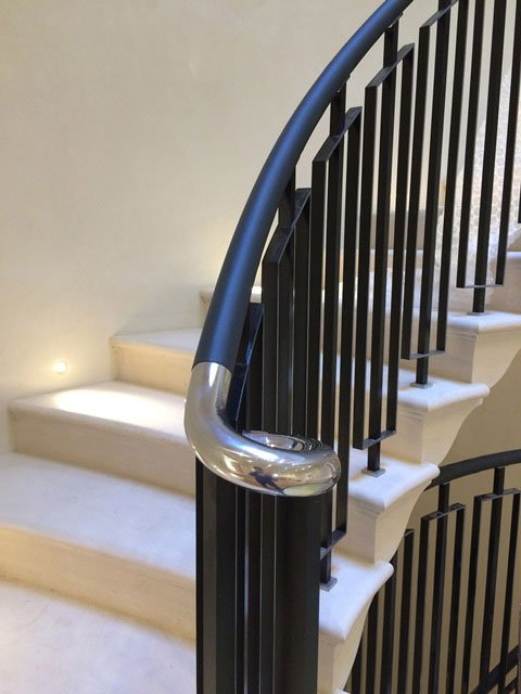 Leather handrail by Topp & Co