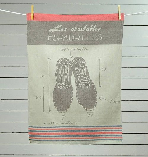 Espadrille tea towel from Ville et Campagne