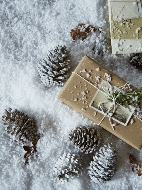 Snowy pine cones from Cox & Cox