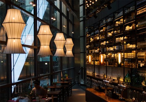 Lampshades by Copper & Silk at Heron Tower