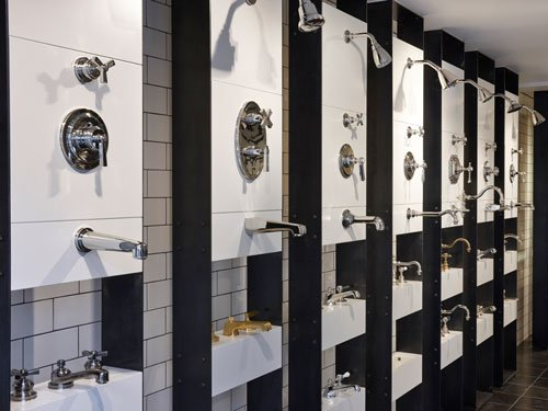 Display of taps at Waterworks, London